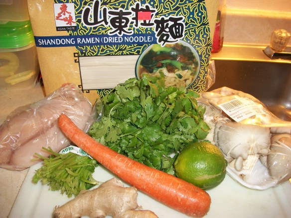 Ingredients for noodle lunch