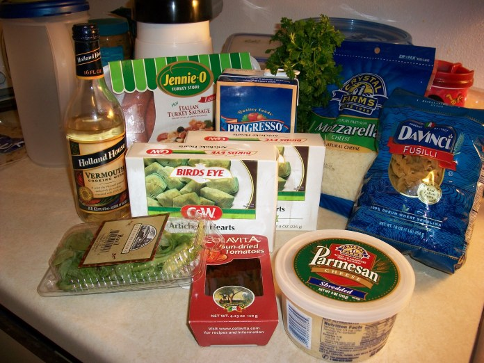 Ingredients for fusilli pasta
