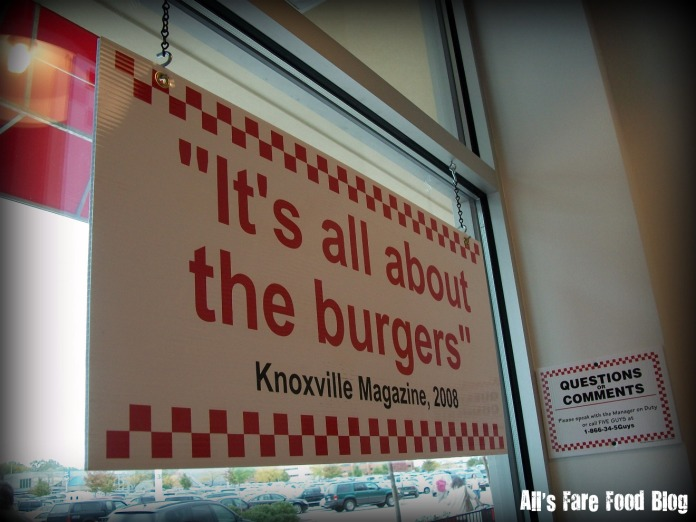 Sign at Five Guys