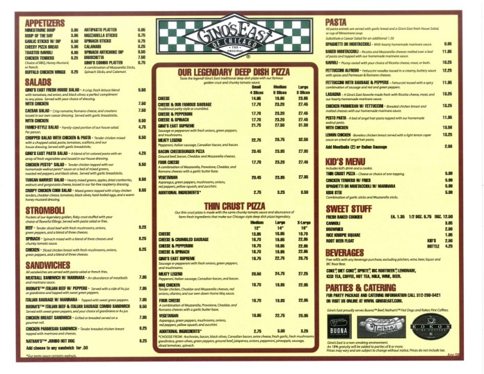 Gino's East - Downtown menu