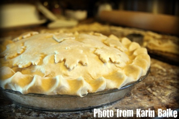 Decorated pie before baking.