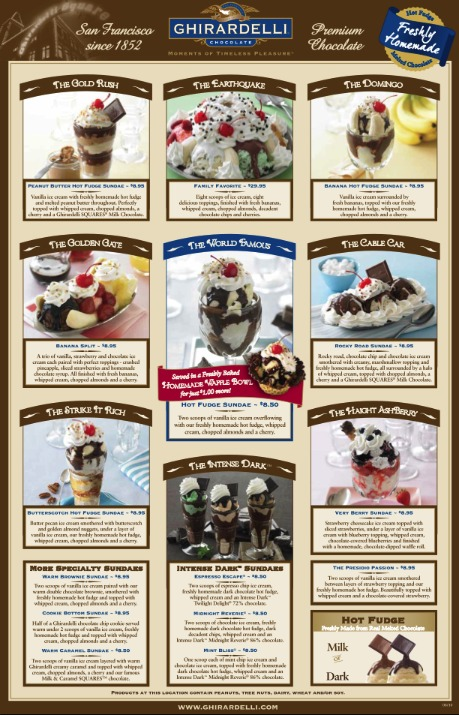Click the image above to download the full menu at Ghirardelli's ice cream