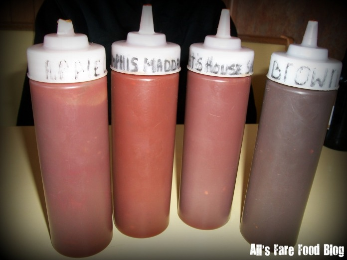 The four sauces at Pat's Rib Place