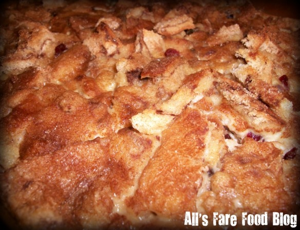 Bread pudding right out of the oven.