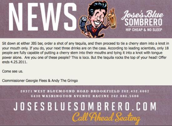 Jose's Blue Sombrero Cherry Challenge