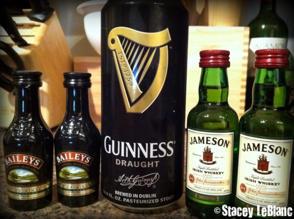 Guinness and Jameson for Carbomb Cupcakes