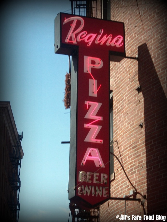 Pizzeria Regina sign in North End