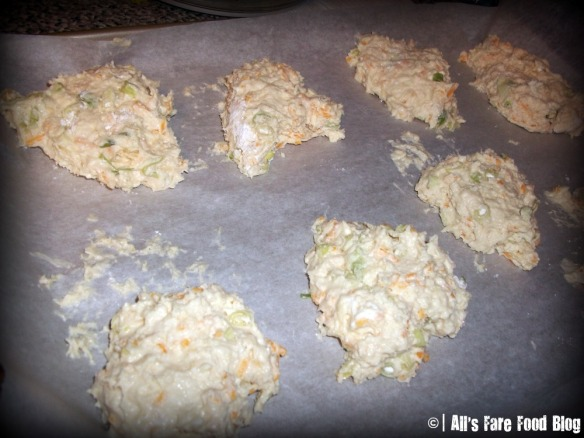 Baking the scallion and cheddar scones