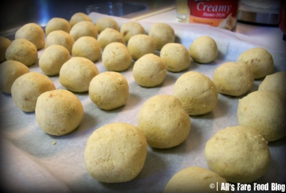Cake balls ready for chilling