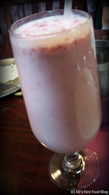 Strawberry lassi drink at Kashmir Indian Restaurant