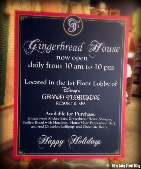 Sign for the Grand Floridian Gingerbread House at the Polynesian Resort