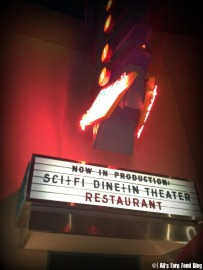 Exterior neon sign at Disney's Sci-Fi Dine-in Theater
