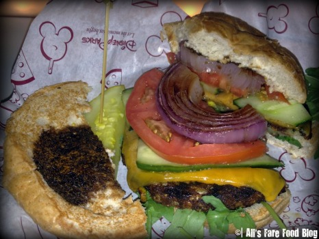 Inside the veggie burger at Sci-Fi Dine-in Theater