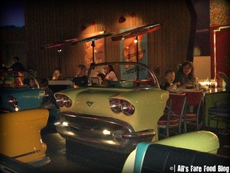 Cars for tables at the Sci-Fi Dine-in Theater
