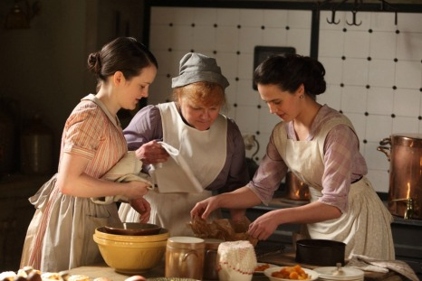 Shown from L-R: Sophie McShera as Daisy, Lesley Nicol as Mrs. Patmore, Jessica Brown-Findlay as Lady Sybil