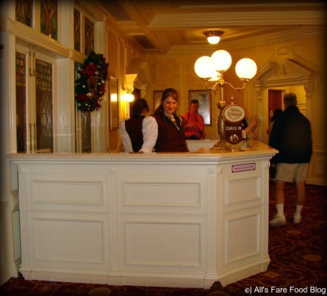 Check-in podium at Tony's Town Square