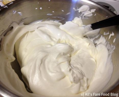 Fresh whipped cream for the tiramisu filling