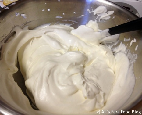 Fresh whipped cream for the tiramisu filling