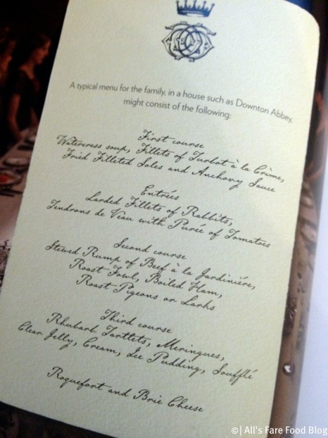 Sample Menu at Downton Abbey