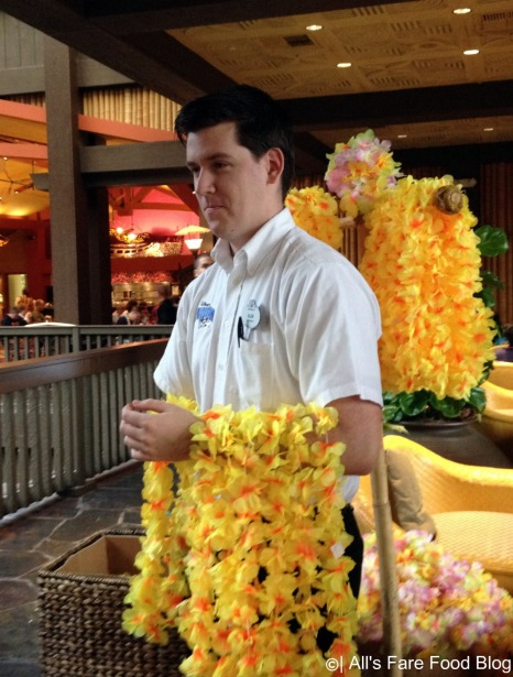 Getting a lei at Disney's 'Ohana