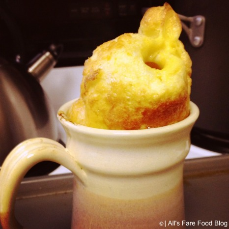 German pancake in the mug right out of the oven
