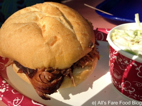 Pulled pork sandwich at Flame Tree Barbecue at Disney's Animal Kingdom Park