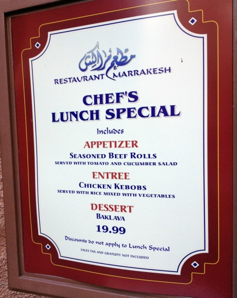 Chef's Lunch Special at Restaurant Marrakesh