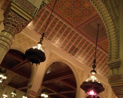 Towering ceiling inside the restaurant