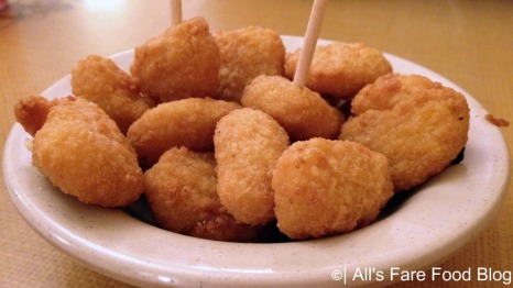 Fried corn nuggets at Sonny's Barbecue