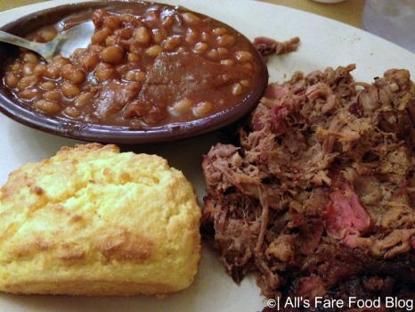 Beef brisket, corn bread and baked beans at Sonny's Barbecue