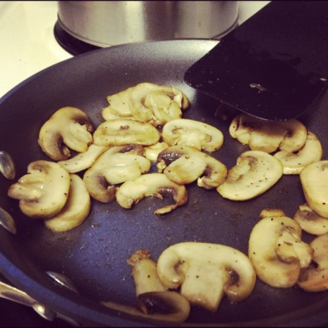 Sauteeing mushrooms