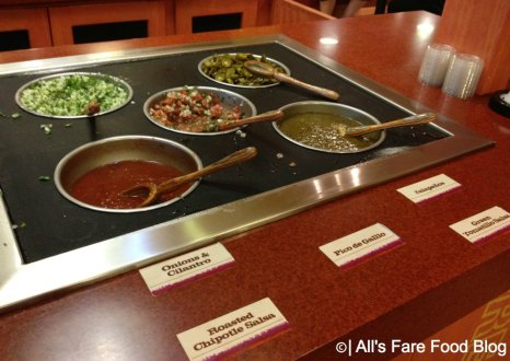 Salsa bar at Pollo Campero at Downtown Disney