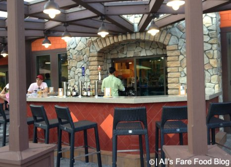 Outdoor bar seating at Pollo Campero, Downtown Disney