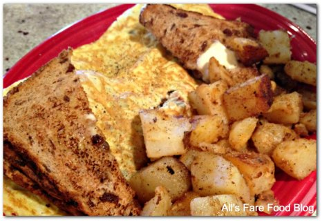 Red's meat omelette and home fries