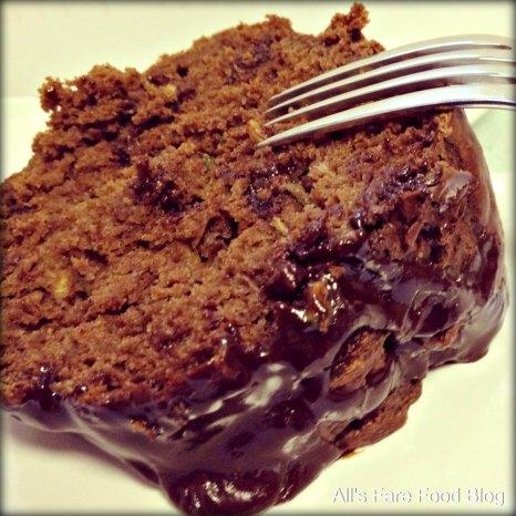 Slice of chocolate zucchini bundt cake